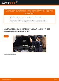 Wie der Wechsel durchführt wird: Zündkerzen 1.9 JTDM 8V (937.AXD1A, 937.AXU1A, 937.BXU1A) Alfa Romeo 147 937 tauschen