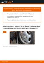 Comment changer : biellette de barre stabilisatrice arrière sur Mercedes W201 - Guide de remplacement