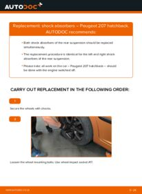 How to carry out replacement: Shock Absorber on 1.4 HDi Peugeot 207 Hatchback