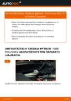 Πώς να αλλάξετε τακάκια φρένων πίσω σε Ford Focus MK2 - Οδηγίες αντικατάστασης