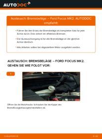 Wie der Wechsel durchführt wird: Bremsbeläge 1.6 TDCi Ford Focus mk2 Limousine tauschen