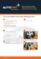DIY manual on replacing MERCEDES-BENZ VIANO Brake Pads