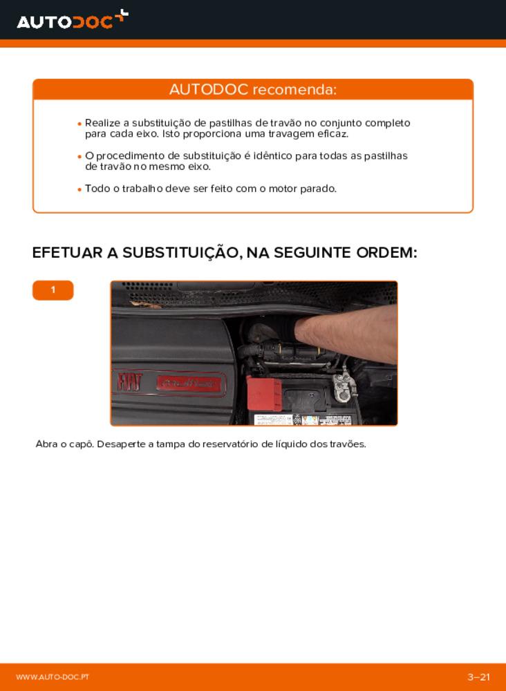 Como realizar a substituição de Pastilhas De Travão no 1.2 Fiat 500 312