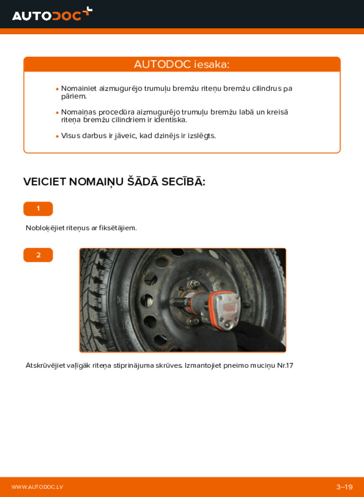 Kā veikt nomaiņu: 1.2 60 Fiat Punto 188 Riteņa bremžu cilindrs