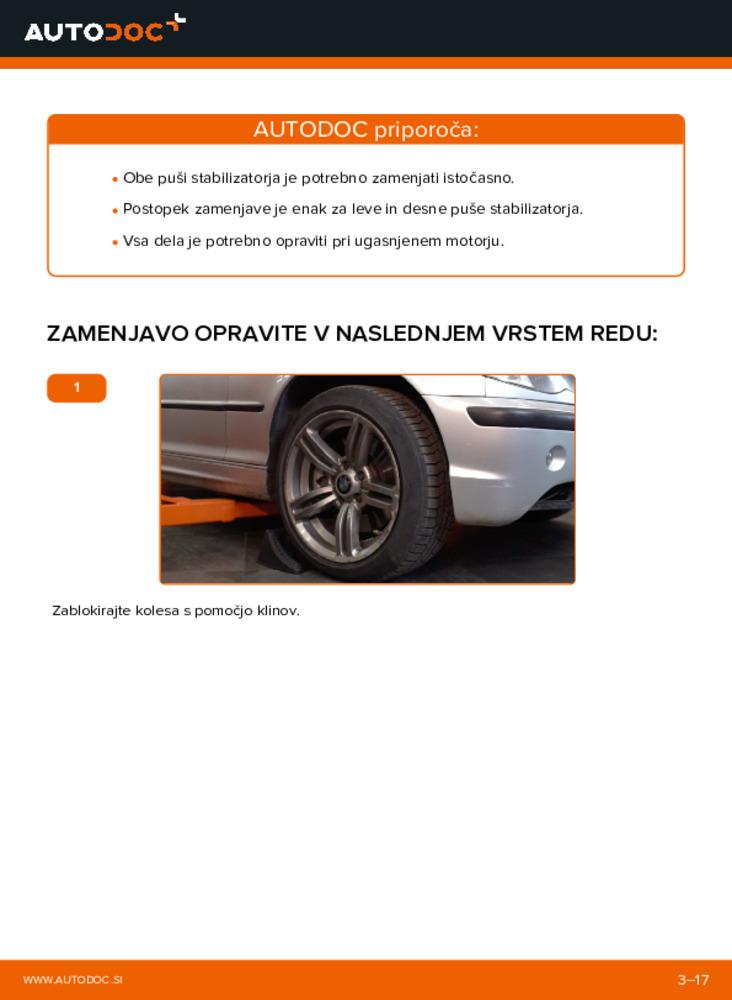 Kako izvesti menjavo: Gumice Stabilizatorja na 320d 2.0 BMW 3 Touring (E46)