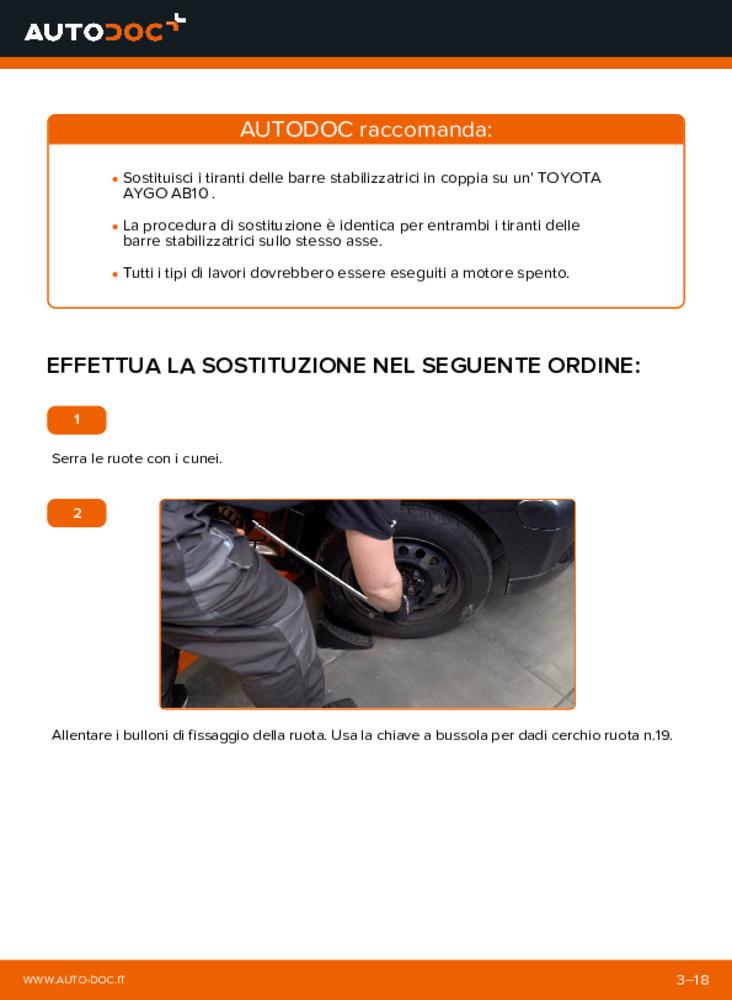 Come effettuare una sostituzione di Biellette Barra Stabilizzatrice su 1 Toyota Aygo ab1