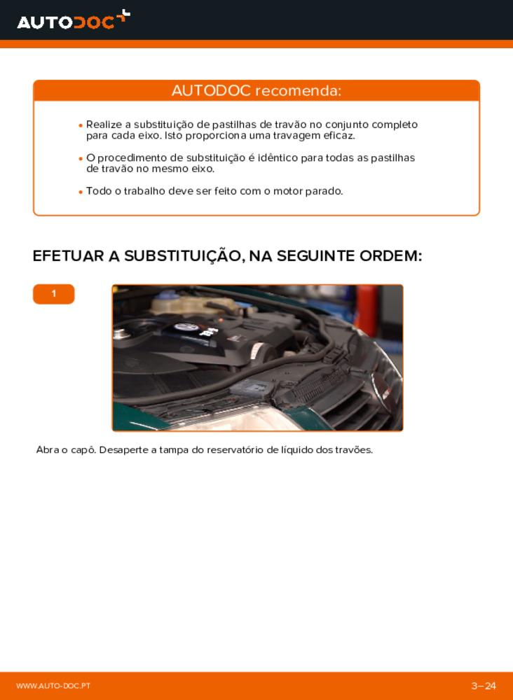 Como realizar a substituição de Pastilhas De Travão no 1.9 TDI Passat 3b6