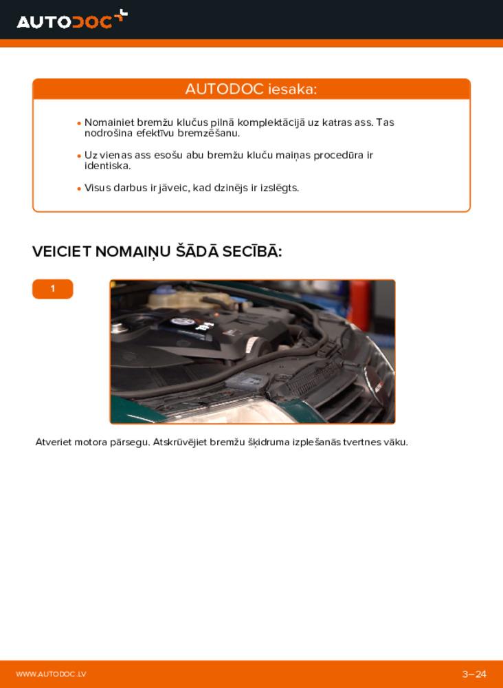 Kā veikt nomaiņu: 1.9 TDI Passat 3b6 Bremžu Kluči