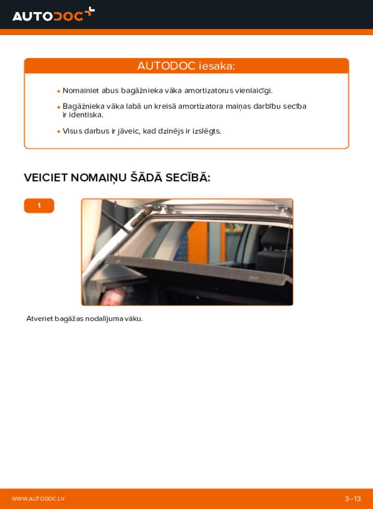 Kā veikt nomaiņu: 1.4 16V Polo 9n Bagāžnieka Amortizatori