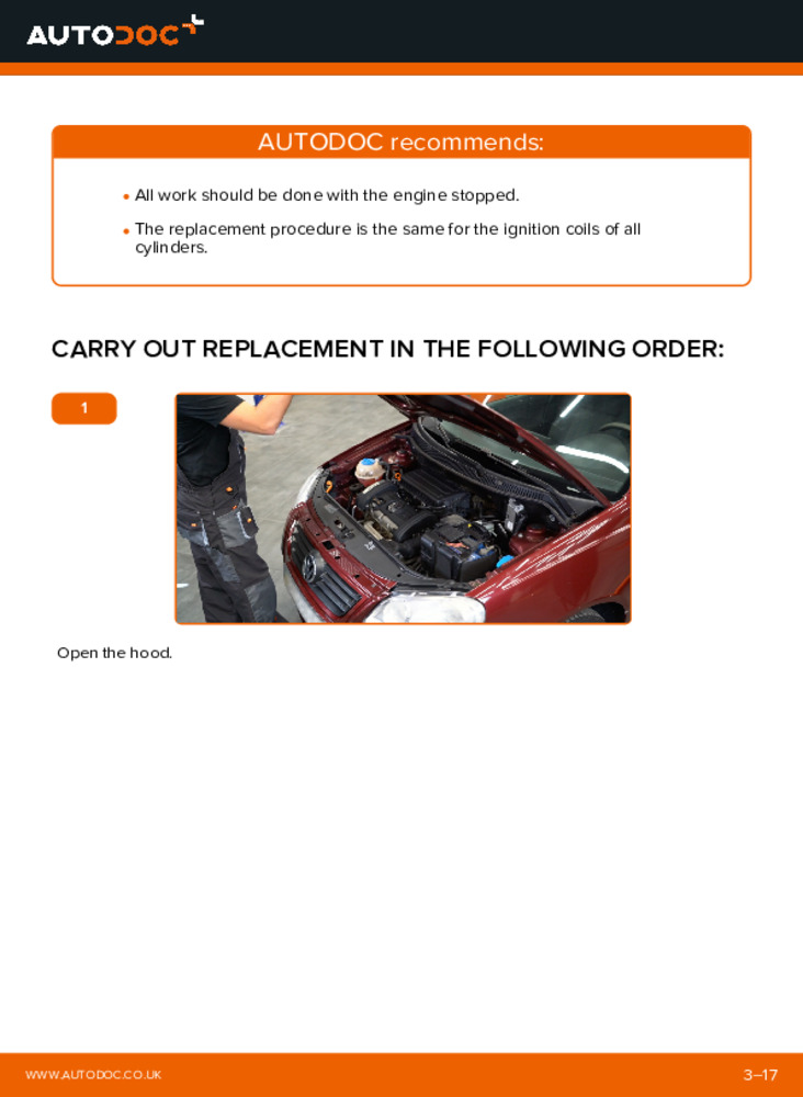 How to carry out replacement: Ignition Coil on 1.4 16V Polo 9n