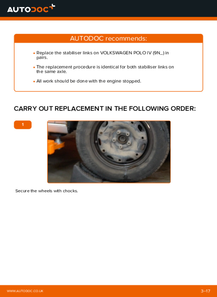 How to carry out replacement: Anti Roll Bar Links on 1.4 16V Polo 9n