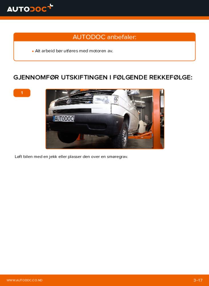 Slik bytter du Motorfeste på 2.5 TDI VW TRANSPORTER IV Bus (70XB, 70XC, 7DB, 7DW)