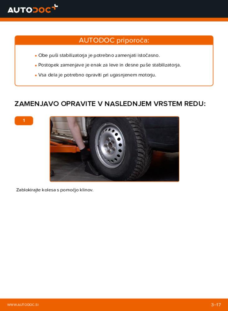 Kako izvesti menjavo: Gumice Stabilizatorja na 2.5 TDI VW TRANSPORTER IV Bus (70XB, 70XC, 7DB, 7DW)