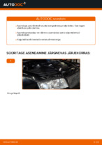Kuidas vahetada tagumisi piduriklotse või pidurikettaid AUDI A4 B6 (8E5)