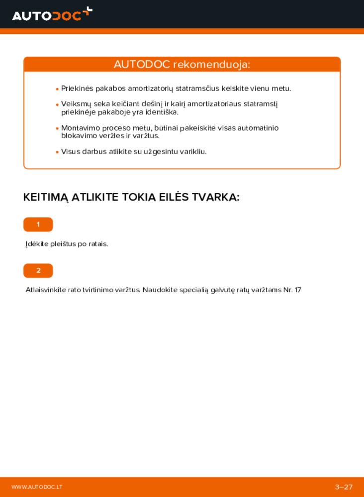 Kaip atlikti keitimą: 1.2 (F08, F68) Corsa C Amortizatoriaus Atraminis Guolis