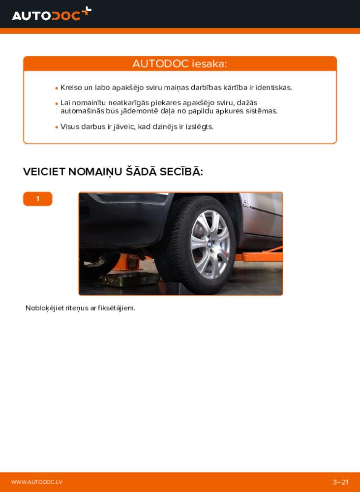 Kā veikt nomaiņu: 3.0 d BMW E53 Svira