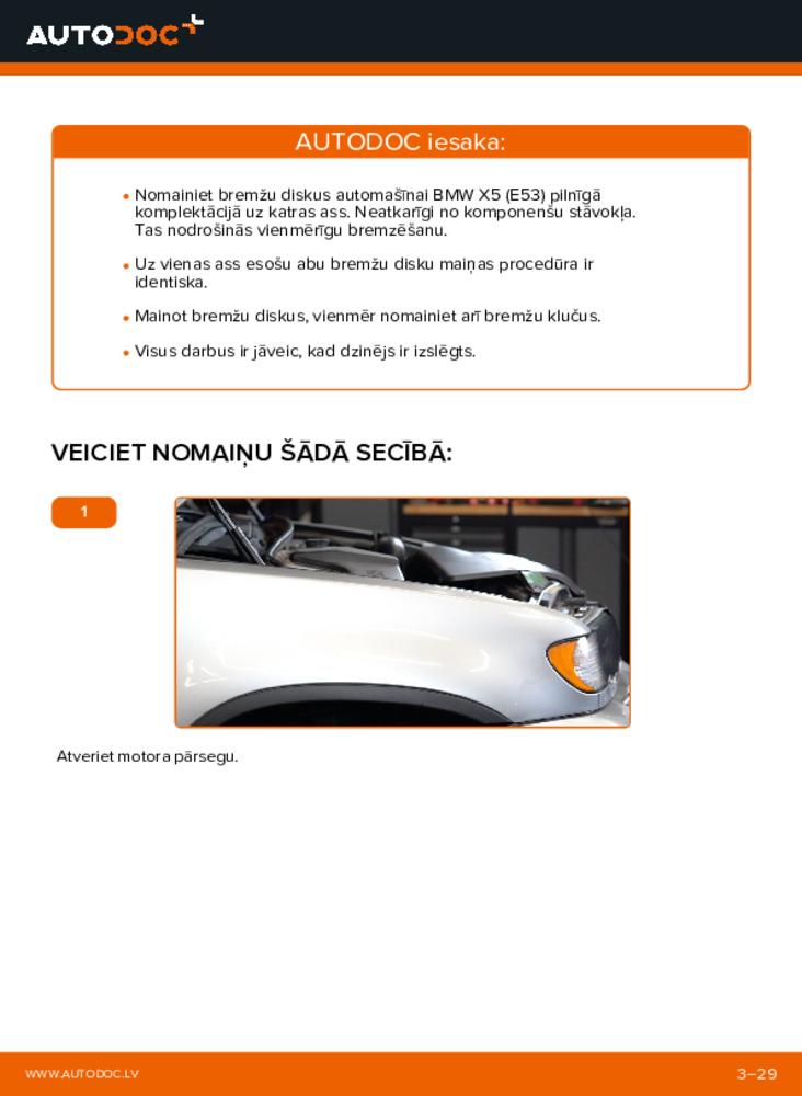 Kā veikt nomaiņu: 3.0 d BMW E53 Bremžu diski
