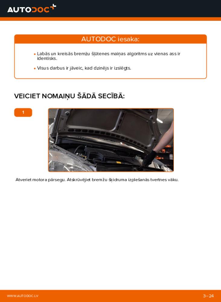 Kā veikt nomaiņu: A 140 1.4 (168.031, 168.131) W168 Mercedes Bremžu šļūtene