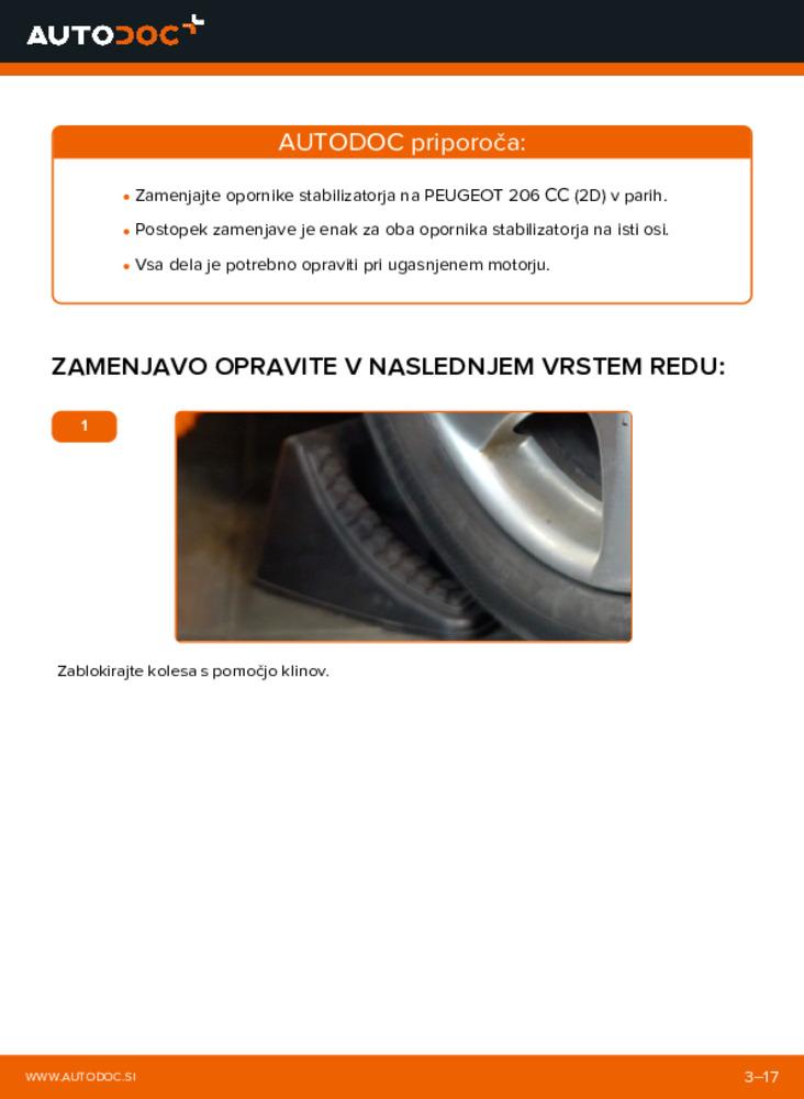 Kako izvesti menjavo: Koncnik na 1.6 16V Peugeot 206 cc 2d