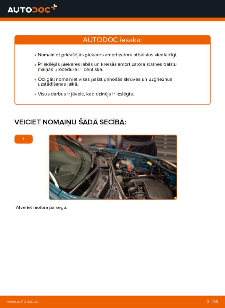 Kā veikt nomaiņu: D 65 1.9 Renault Kangoo kc01 Amortizatoru Atbalsta Gultņi