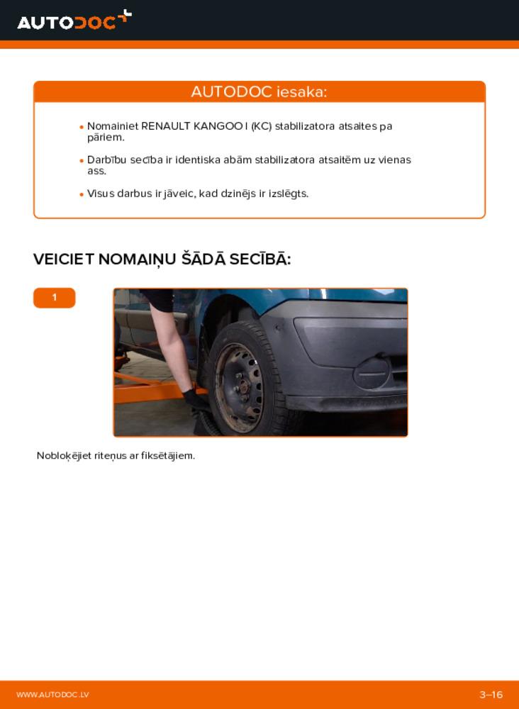 Kā veikt nomaiņu: D 65 1.9 Renault Kangoo kc01 Savienotājstienis