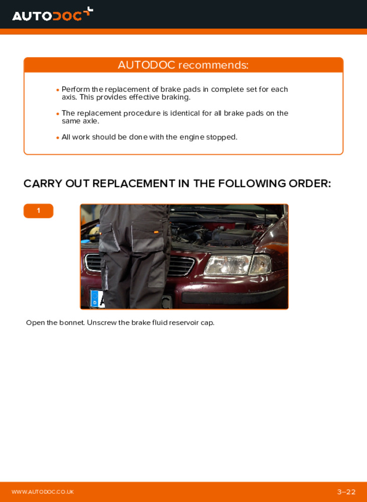 How to carry out replacement: Brake Pads on 1.9 TDI Audi A3 8l1