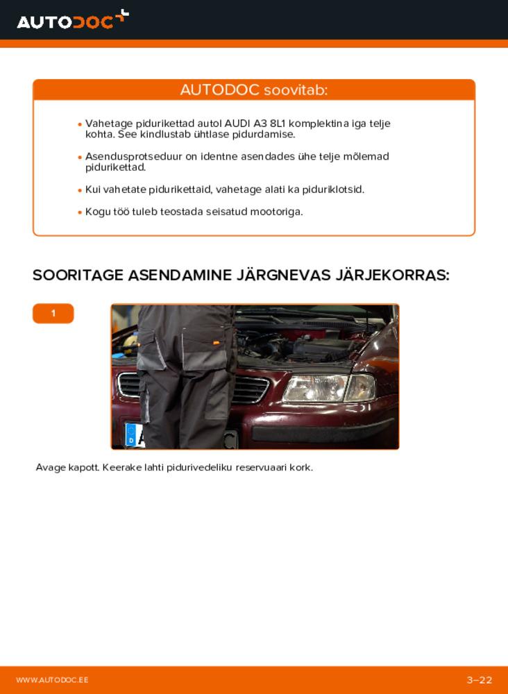 Kuidas välja vahetamist läbi viia: 1.9 TDI Audi A3 8l1 Piduriketas