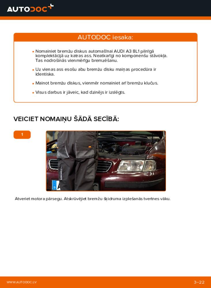 Kā veikt nomaiņu: 1.9 TDI Audi A3 8l1 Bremžu diski