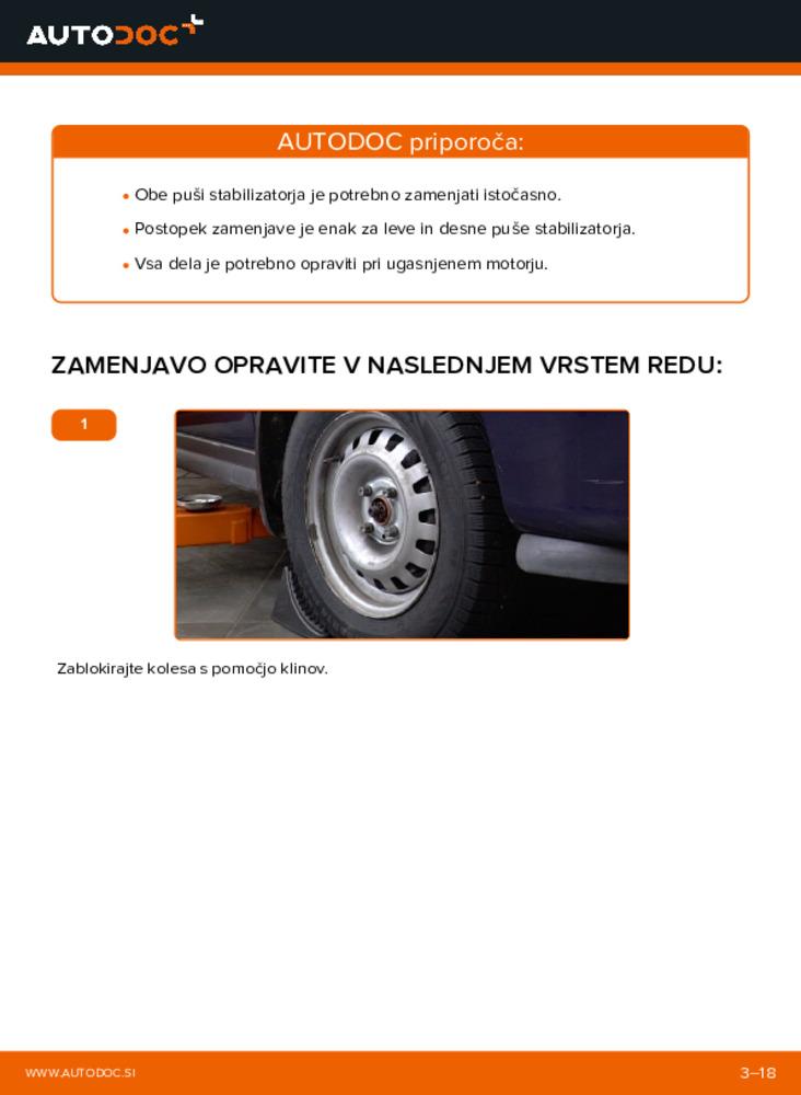 Kako izvesti menjavo: Gumice Stabilizatorja na 1.6 16V (F08, F48) Opel Astra g f48