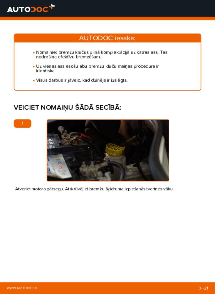 Kā veikt nomaiņu: 1.9 JTD Fiat Doblo Cargo Bremžu Kluči