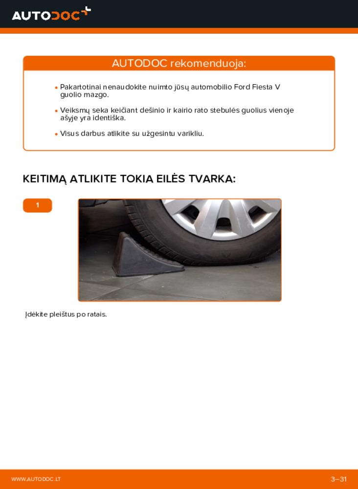 Kaip atlikti keitimą: 1.4 TDCi Ford Fiesta V jh jd Rato guolis