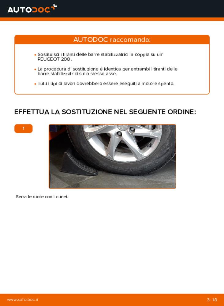 Come effettuare una sostituzione di Biellette Barra Stabilizzatrice su 1.4 HDi Peugeot 208 1