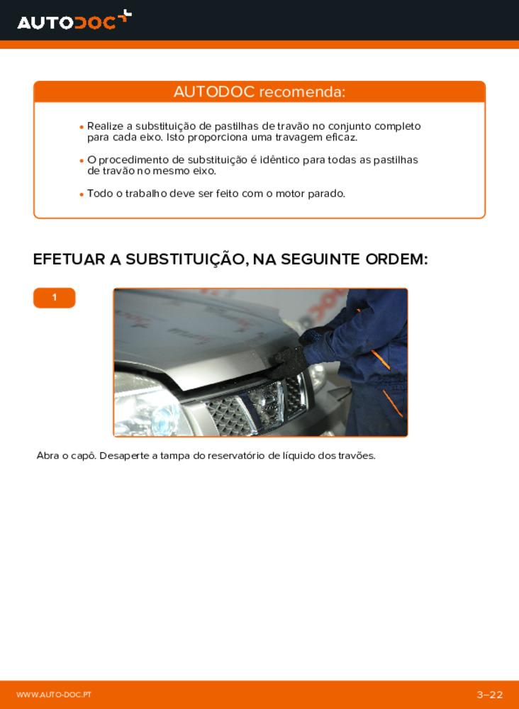 Como realizar a substituição de Pastilhas De Travão no 2.2 dCi 4x4 Nissan X Trail t30