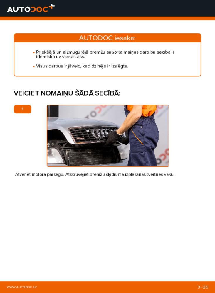 Kā veikt nomaiņu: 1.9 TDI Audi A4 b6 Bremžu suports