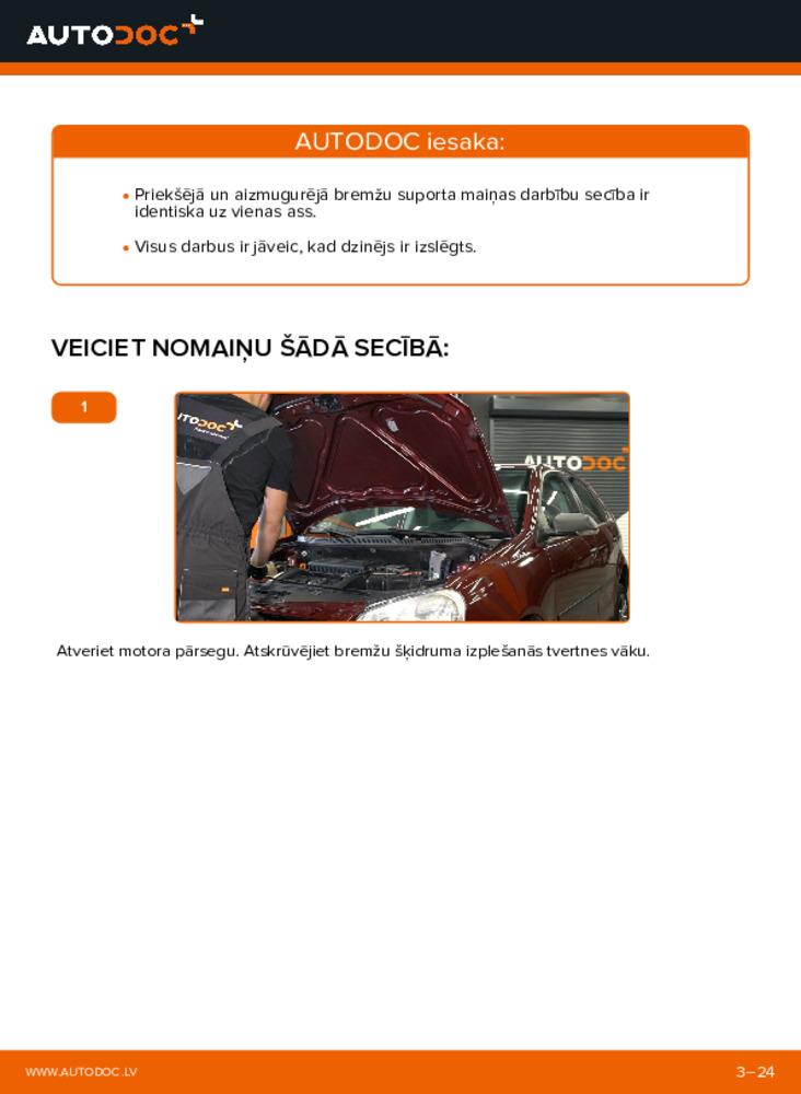 Kā veikt nomaiņu: 1.4 16V Polo 9n Bremžu suports