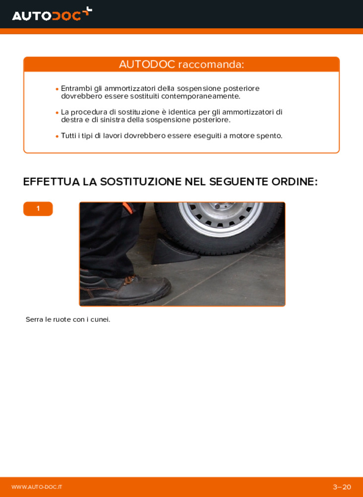 Come effettuare una sostituzione di Ammortizzatori su 1.6 16V (F08, F48) Opel Astra g f48