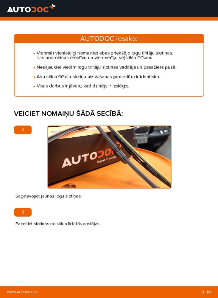 Kā veikt nomaiņu: 2.4 Volvo V70 SW Stikla tīrītāja slotiņa