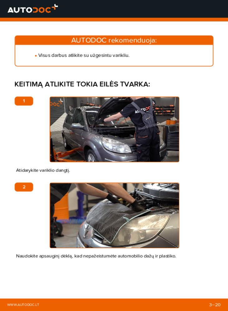 Kaip atlikti keitimą: 1.9 dCi Renault Scenic 2 V formos rumbuotas diržas