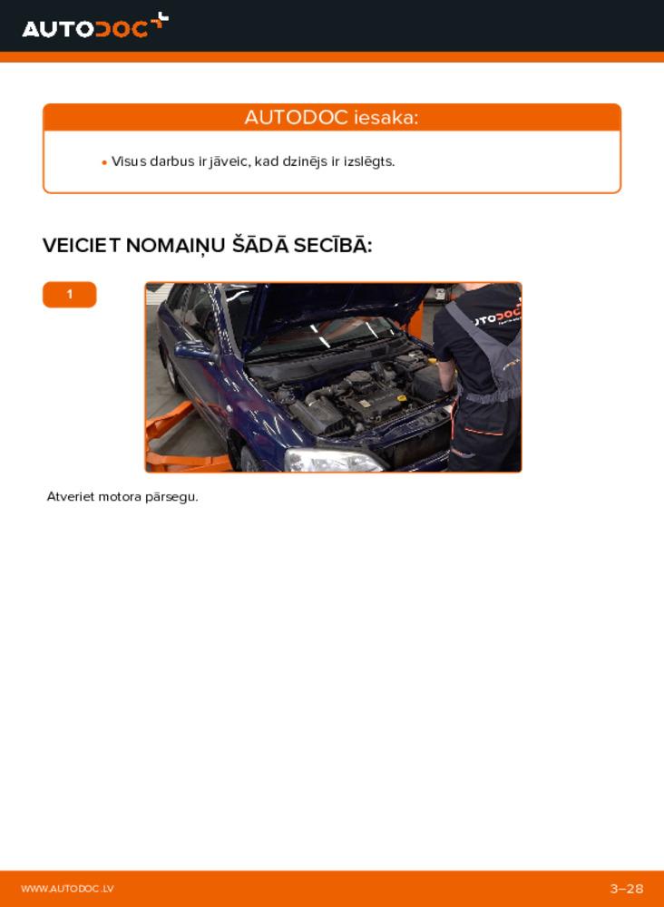Kā veikt nomaiņu: 1.6 16V (F08, F48) Opel Astra g f48 Motora stiprinājums