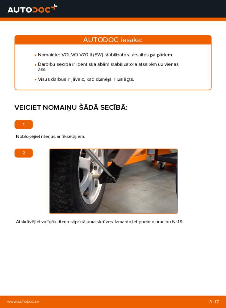Kā veikt nomaiņu: 2.4 Volvo V70 SW Savienotājstienis