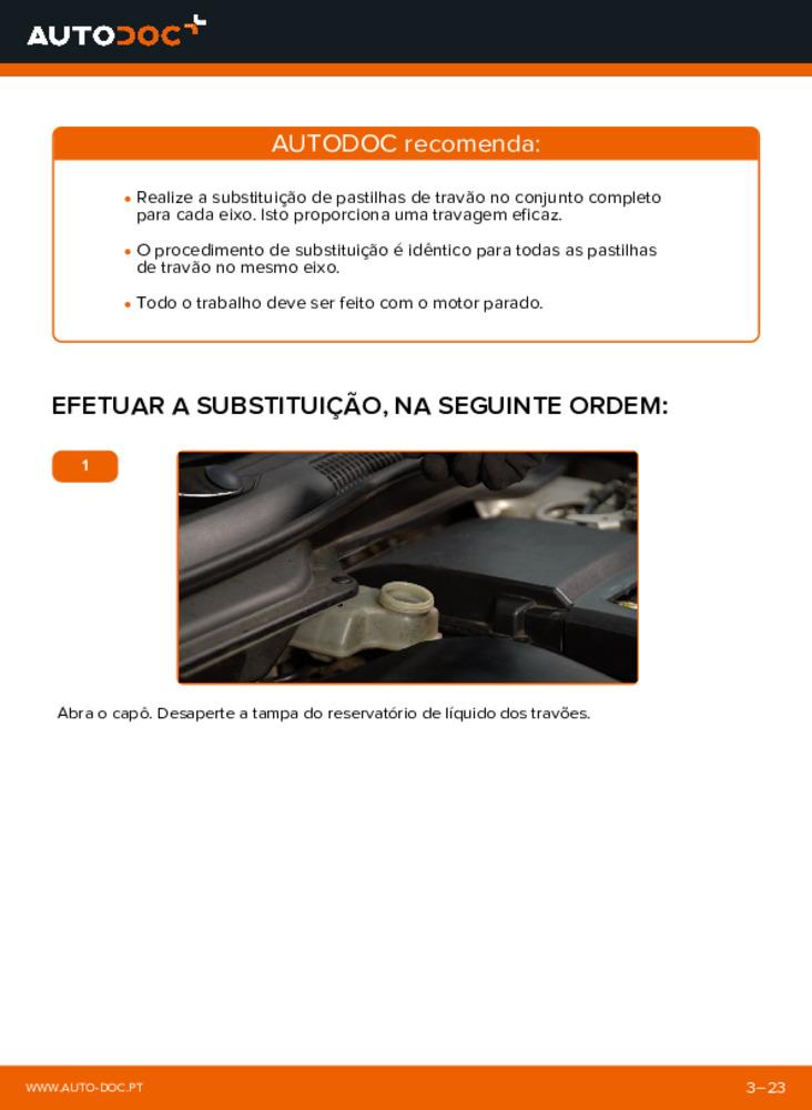 Como realizar a substituição de Pastilhas De Travão no 2.0 D Volvo v50 mw