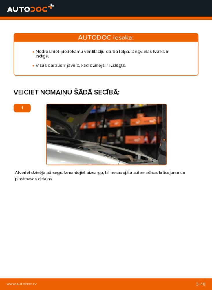 Kā veikt nomaiņu: 2.0 D Volvo v50 mw Degvielas filtrs