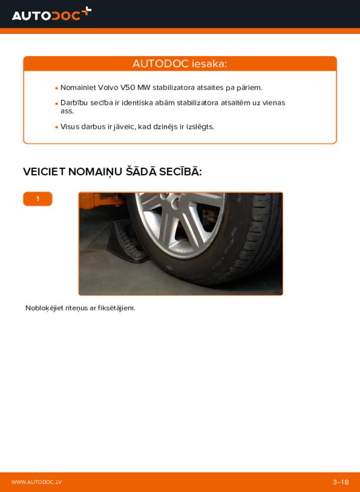 Kā veikt nomaiņu: 2.0 D Volvo v50 mw Savienotājstienis