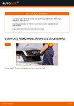 Kuidas vahetada esimesi piduriklotse või pidurikettaid autol AUDI A4 B6