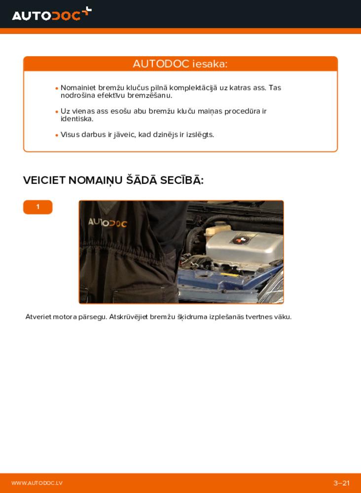 Kā veikt nomaiņu: 1.5 (NHW2_) Toyota Prius 2 Bremžu Kluči