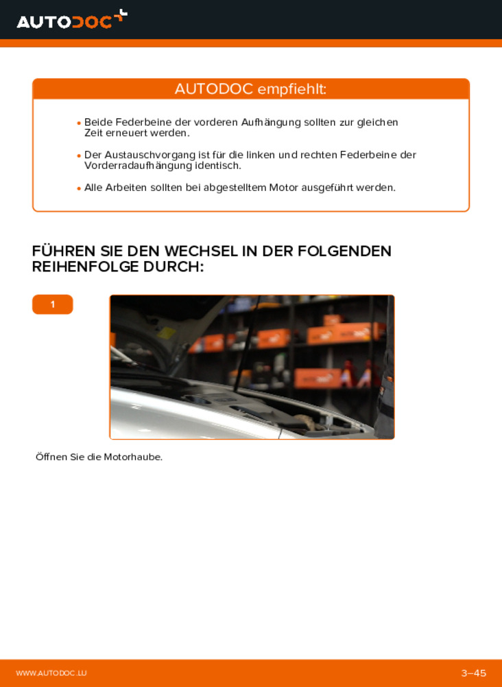 Wie der Wechsel ausgeführt wird: Stoßdämpfer beim 2.0 D Volvo v50 mw