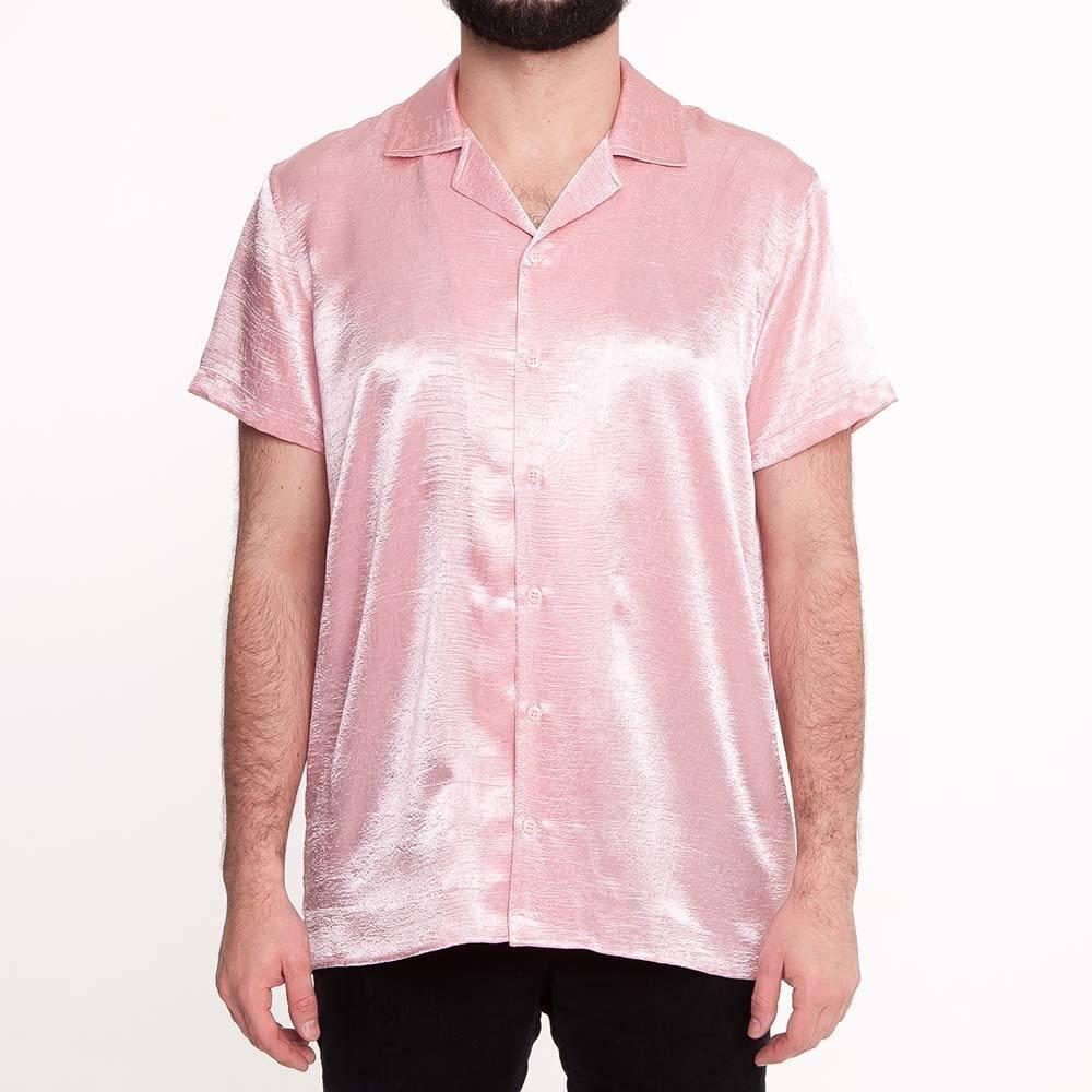 Camisa de Cetim Rosa