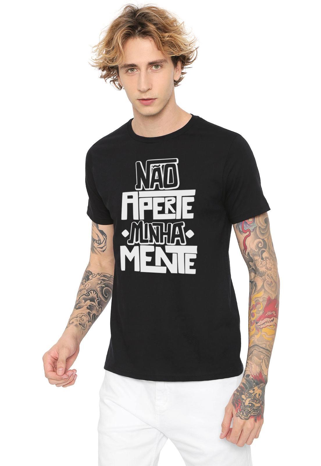 Camiseta Estampada Não Aperte Minha Mente