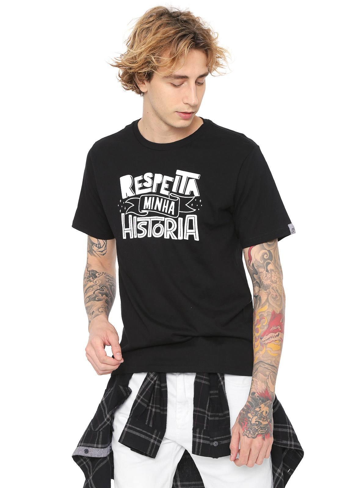 Camiseta Estampada Respeita Minha História