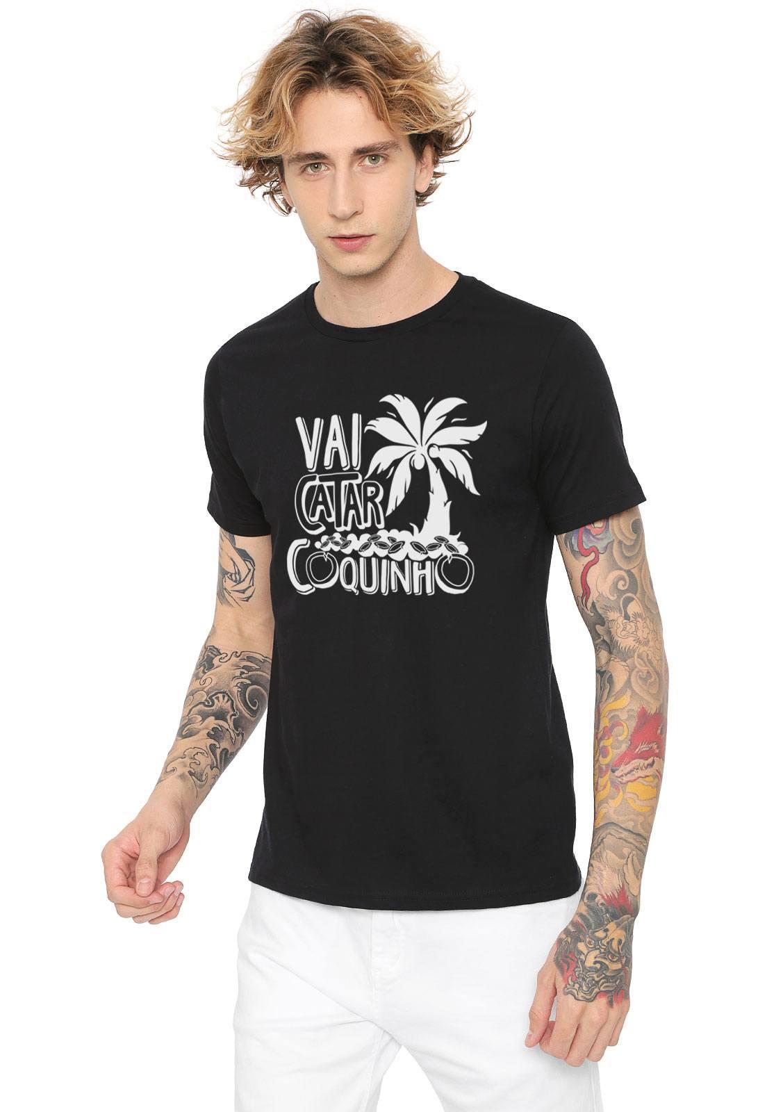 Camiseta Estampada Vai Catar Coquinho